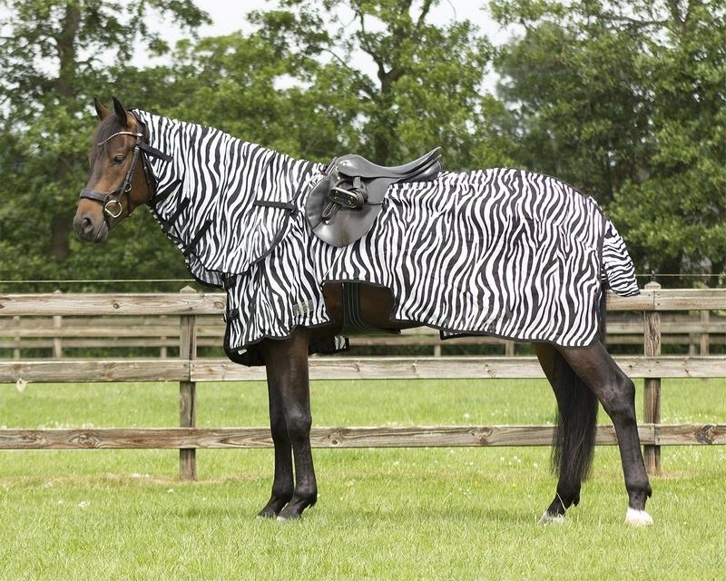 QHP Vliegenuitrijdeken met nek Zebra