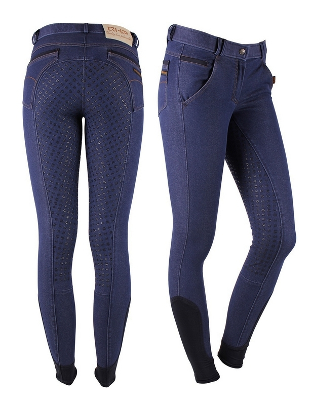 QHP Rijbroek Denim Anti-slip Fullseat